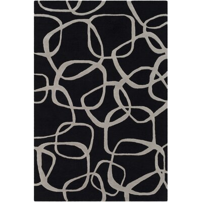 Himes Hand-Tufted Black/Light Gray Area Rug Rug Size: Rectangle 5 x 76