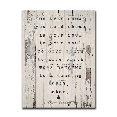 Dancing Star Textual Art on Wrapped Canvas Size: 16