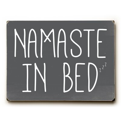 Namaste in Bed Solid Textual Art on Wood
