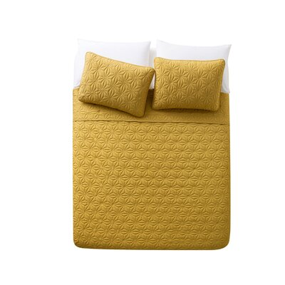 Cash 3 Piece Quilt Set Color: Gold, Size: King