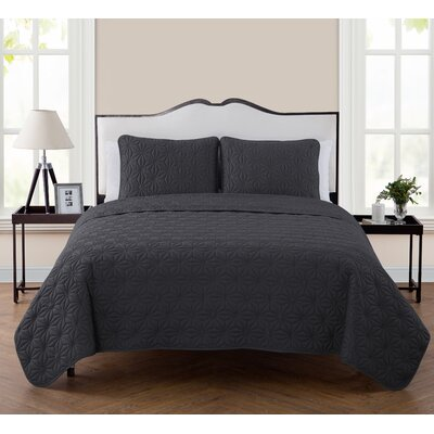 Cash 3 Piece Quilt Set Color: Iron, Size: Full/Queen