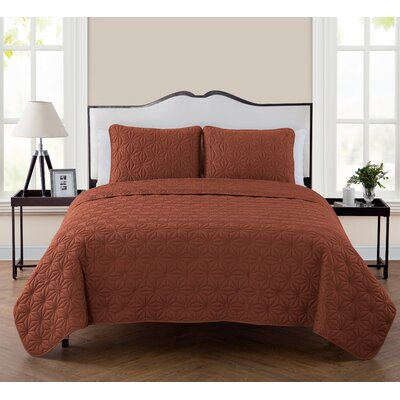 Cash 3 Piece Quilt Set Color: Orange, Size: King