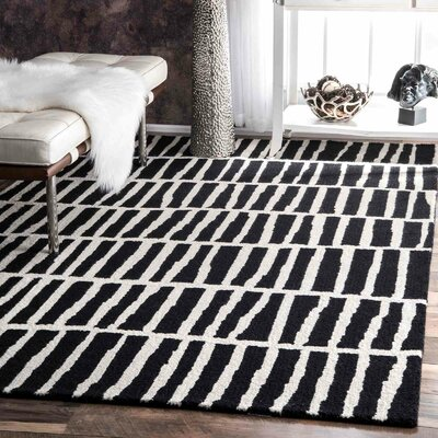 Bohm Hand-Tufted Black Area Rug Rug Size: Rectangle 5 x 8