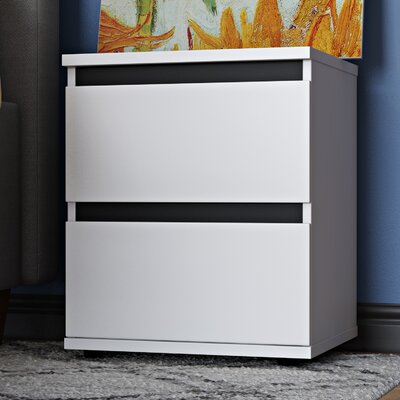 Aaron 2 Drawer Nightstand Finish: White