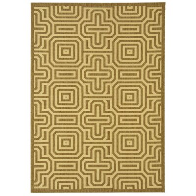 Jefferson Place Brown/Natural Geometric Outdoor Area Rug Rug Size: 53 x 77