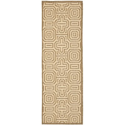 Jefferson Place Brown/Natural Geometric Outdoor Area Rug Rug Size: Rectangle 53 x 77