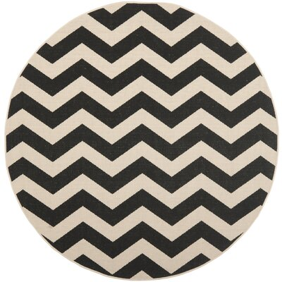 Jefferson Place Black/Beige Indoor/Outdoor Area Rug Rug Size: Round 4