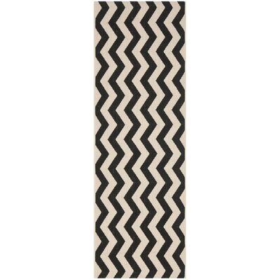 Jefferson Place Black/Beige Indoor/Outdoor Area Rug Rug Size: Runner 23 x 8