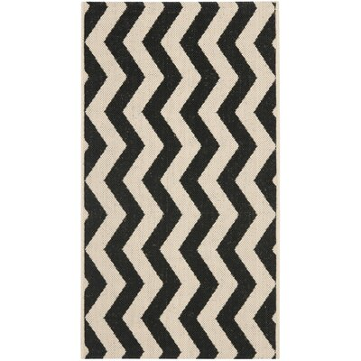 Jefferson Place Black/Beige Indoor/Outdoor Rug Rug Size: 53 x 77