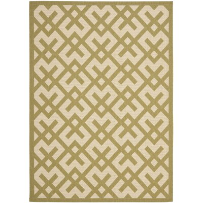 Jefferson Place Beige/Green Outdoor Rug Rug Size: Round 67