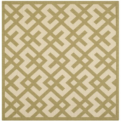 Jefferson Place Beige/Green Outdoor Rug Rug Size: Square 67