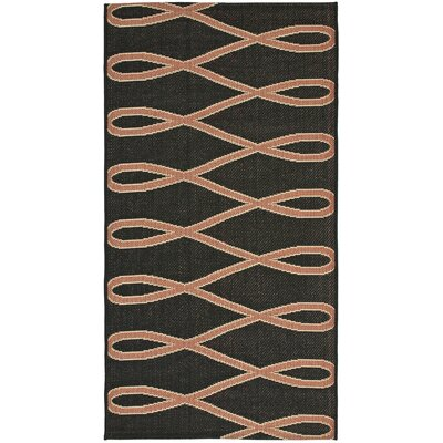 Jefferson Place Black/Brown Outdoor Area Rug Rug Size: Runner 27 x 5
