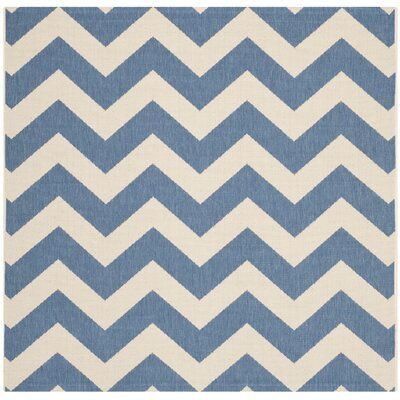 Jefferson Place Blue/Beige Indoor/Outdoor Area Rug Rug Size: Square 4