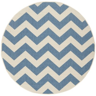 Jefferson Place Blue & Beige Indoor/Outdoor Area Rug Rug Size: Round 4