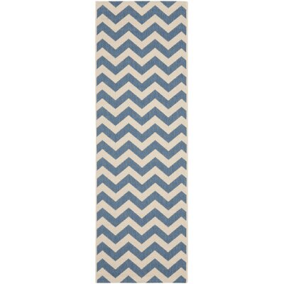 Jefferson Place Blue & Beige Indoor/Outdoor Area Rug Rug Size: Rectangle 27 x 5
