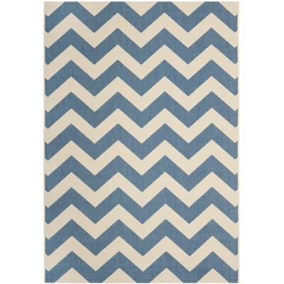 Jefferson Place Blue & Beige Area Rug Rug Size: 53 x 77