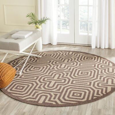 Jefferson Place Natural/Brown Indoor/Outdoor Area Rug Rug Size: Round 67