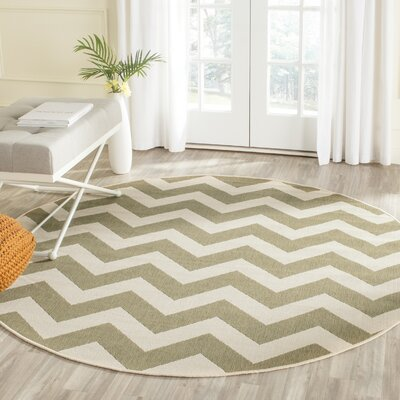 Jefferson Place Green/Beige Indoor/Outdoor Rug Rug Size: Round 67