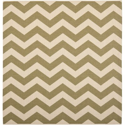 Jefferson Place Green/Beige Indoor/Outdoor Rug Rug Size: Square 4
