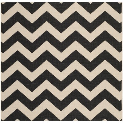 Jefferson Place Black & Beige Outdoor/Indoor Area Rug Rug Size: Square 67
