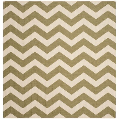 Jefferson Place Green/Beige Indoor/Outdoor Rug Rug Size: Square 67