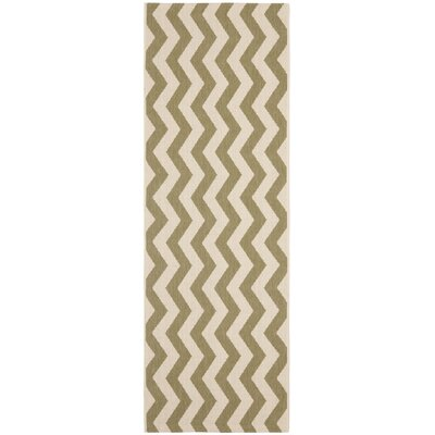 Jefferson Place Green/Beige Indoor/Outdoor Rug Rug Size: Rectangle 27 x 5