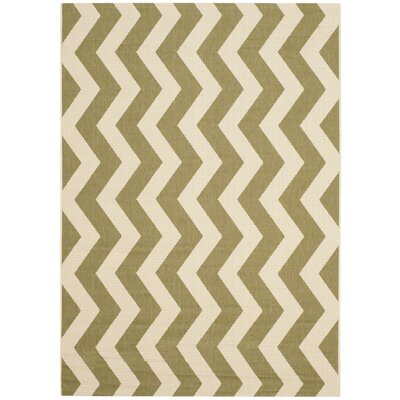 Jefferson Place Green/Beige Indoor/Outdoor Rug Rug Size: 53 x 77