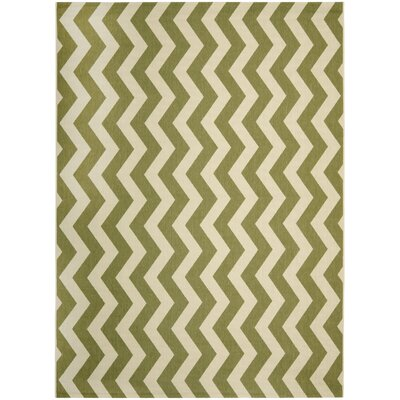 Jefferson Place Green/Beige Indoor/Outdoor Rug Rug Size: Round 53