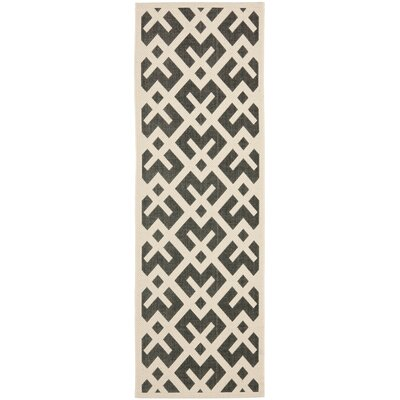 Jefferson Place Black & Beige Indoor/Outdoor Area Rug Rug Size: Runner 23 x 12