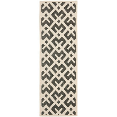 Jefferson Place Black & Beige Indoor/Outdoor Area Rug Rug Size: Runner 2'4