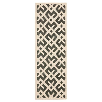 Jefferson Place Black & Beige Indoor/Outdoor Area Rug Rug Size: Rectangle 27 x 5