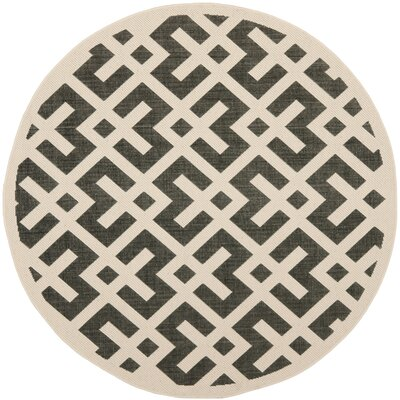 Jefferson Place Black & Beige Indoor/Outdoor Area Rug Rug Size: Round 53