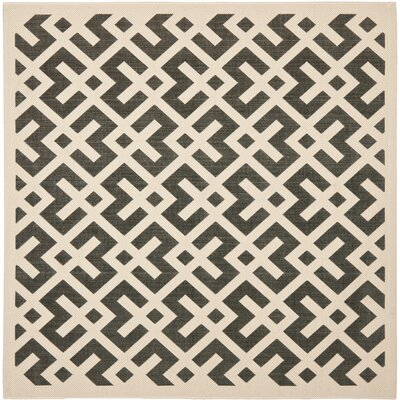 Jefferson Place Black & Beige Indoor/Outdoor Area Rug Rug Size: Square 67