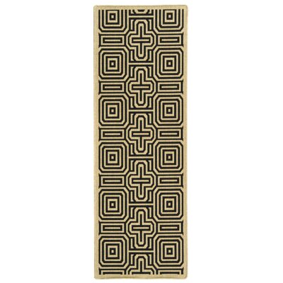 Jefferson Place Sand & Black Outdoor Area Rug Rug Size: Runner 2'3
