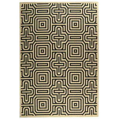 Jefferson Place Sand & Black Outdoor Area Rug Rug Size: 2' x 3'7