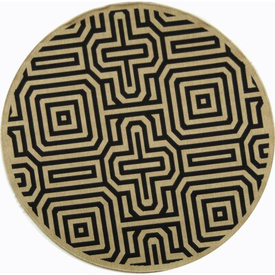Jefferson Place Sand & Black Outdoor Area Rug Rug Size: Round 5'3