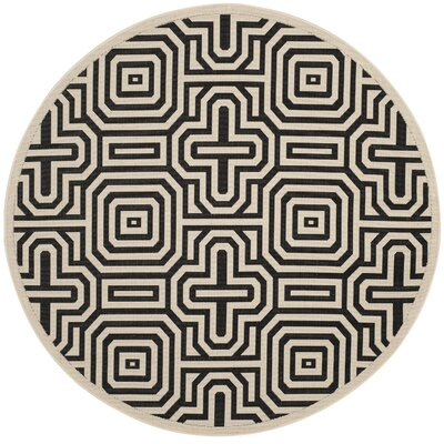 Jefferson Place Sand & Black Outdoor Area Rug Rug Size: Rectangle 67 x 96