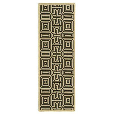 Jefferson Place Sand & Black Outdoor Area Rug Rug Size: Runner 23 x 12