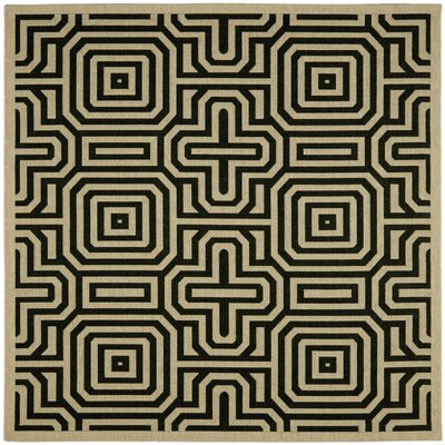 Jefferson Place Sand & Black Outdoor Area Rug Rug Size: Square 67