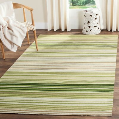 Jefferson Green Striped Contemporary Area Rug Rug Size: 6 x 9