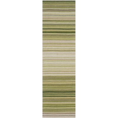 Jefferson Green Striped Contemporary Area Rug Rug Size: Runner 23 x 8