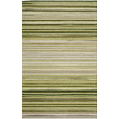 Jefferson Green Striped Contemporary Area Rug Rug Size: 4 x 6