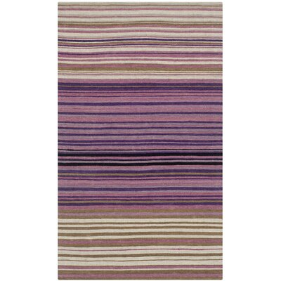 Jefferson Striped Contemporary White/Lilac Area Rug Rug Size: Rectangle 23 x 4