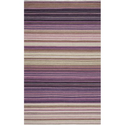 Jefferson Striped Contemporary White/Lilac Area Rug Rug Size: 5 x 8