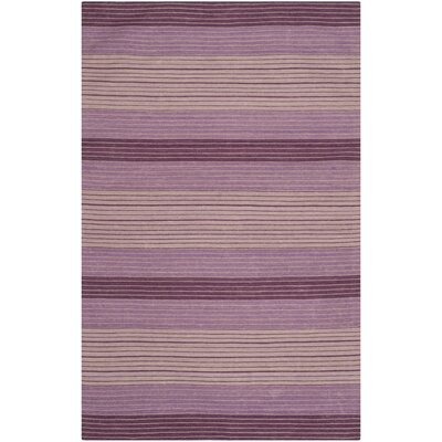 Jefferson Lilac Striped Contemporary Purple Area Rug Rug Size: 6 x 9