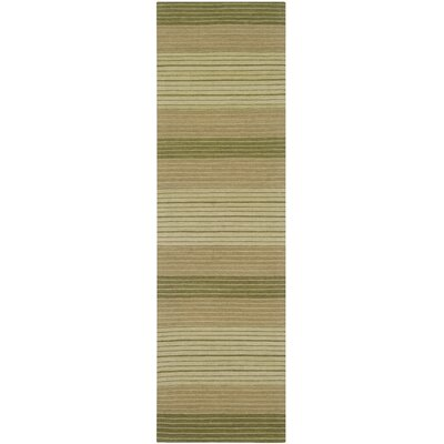 Jefferson Hand Woven Cotton Green Area Rug Rug Size: Runner 23 x 8