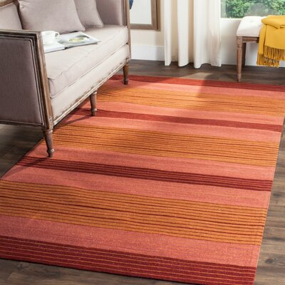 Jefferson Rust Striped Contemporary Orange Area Rug Rug Size: 5 x 8