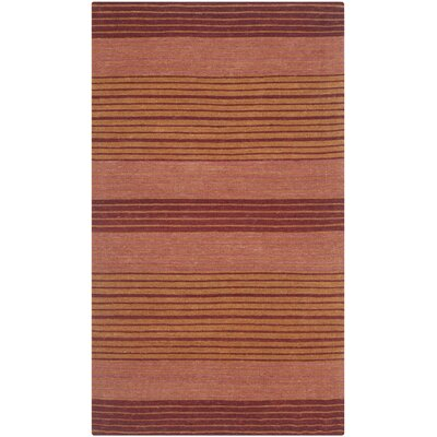Jefferson Rust Striped Contemporary Orange Area Rug Rug Size: 23 x 4