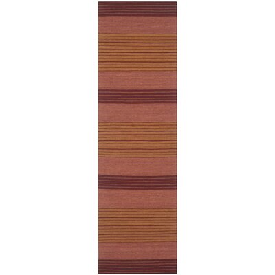 Jefferson Rust Striped Contemporary Orange Area Rug Rug Size: Runner 23 x 8