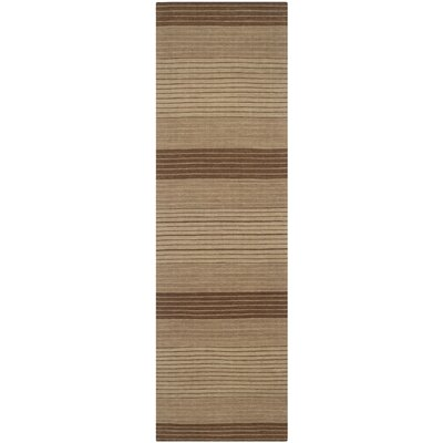 Jefferson Beige Striped Contemporary Area Rug Rug Size: Runner 23 x 8
